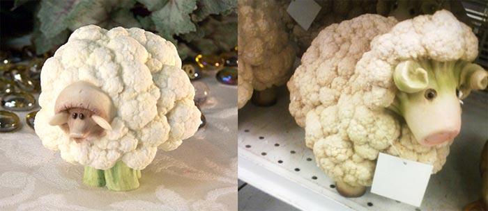 Овечка из цветной капусты поделки